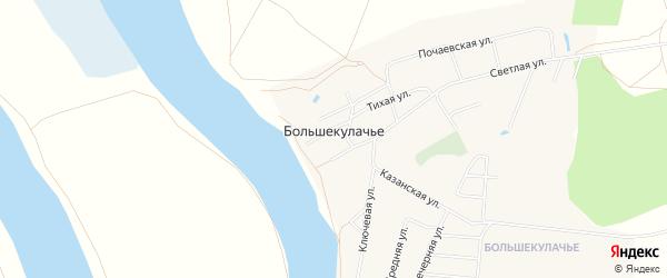 Карта деревни Большекулачья в Омской области с улицами и номерами домов