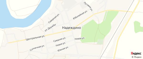 Карта села Надеждино в Омской области с улицами и номерами домов