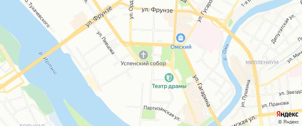 Карта поселка сдт Радуга-1 (ОАО) города Омска в Омской области с улицами и номерами домов