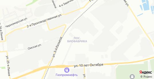 Карта поселка Биофабрика в Омске с улицами, домами и почтовыми отделениями со спутника онлайн