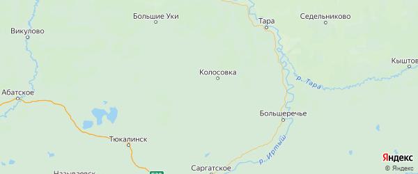 Карта Колосовского района Омской области с городами и населенными пунктами