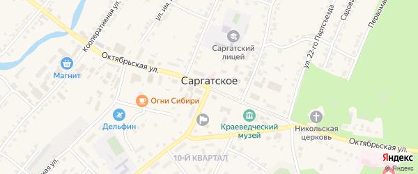 Улица И.Ф.Кириченко на карте поселка Саргатского Омской области с номерами домов