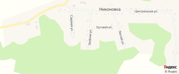 Зеленая улица на карте села Никоновки Омской области с номерами домов