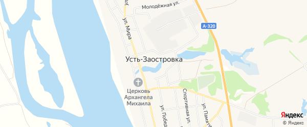 Карта села Усть-Заостровки в Омской области с улицами и номерами домов
