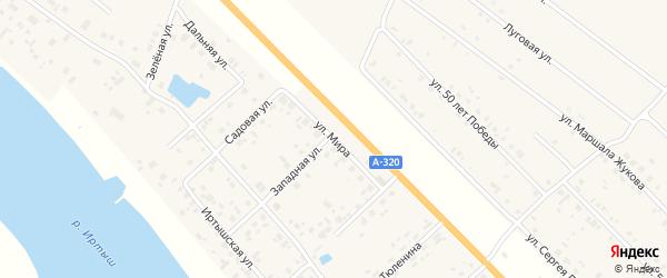 Улица Мира на карте села Розовки Омской области с номерами домов
