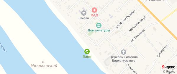 Спортивный переулок на карте села Розовки Омской области с номерами домов