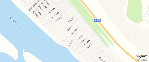 Дачная улица на карте села Розовки Омской области с номерами домов