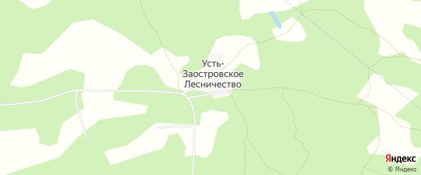 Карта населенного пункта Усть-Заостровского Лесничества в Омской области с улицами и номерами домов