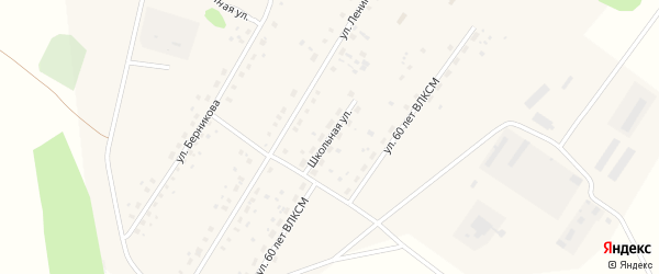 Школьная улица на карте села Калинино Омской области с номерами домов