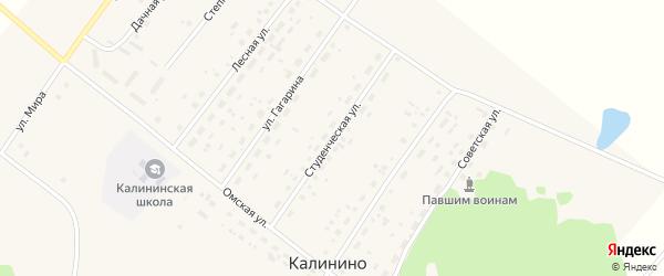 Студенческая улица на карте села Калинино Омской области с номерами домов