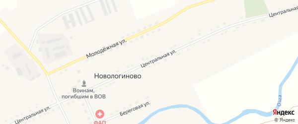 Центральная улица на карте села Новологиново Омской области с номерами домов
