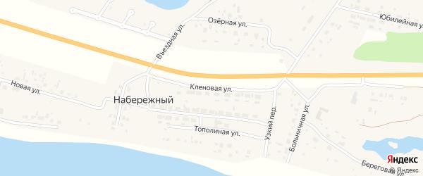 Кленовая улица на карте Набережного поселка Омской области с номерами домов