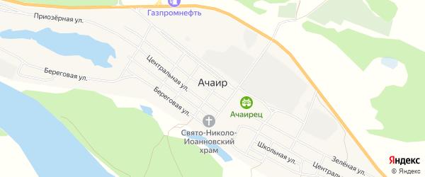 Карта села Ачаира в Омской области с улицами и номерами домов