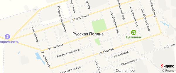 Карта поселка Русской Поляны в Омской области с улицами и номерами домов