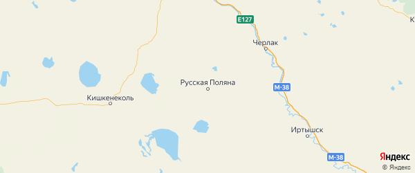 Карта Русско-полянского района Омской области с городами и населенными пунктами