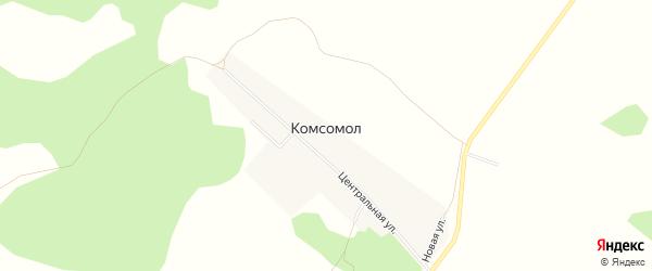 Карта деревни Комсомола в Омской области с улицами и номерами домов