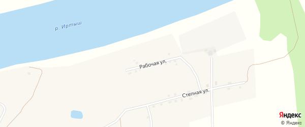 Рабочая улица на карте села Новопокровки Омской области с номерами домов