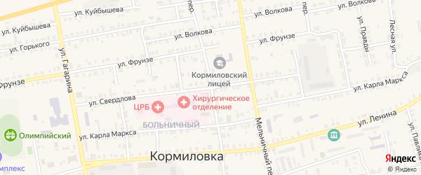 Базарный переулок на карте поселка Кормиловки Омской области с номерами домов