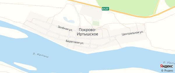 Карта деревни Покрово-Иртышского в Омской области с улицами и номерами домов