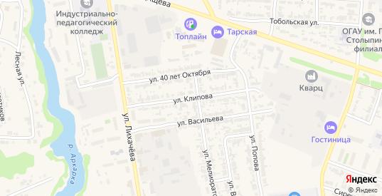 Улица Клипова в Таре с номерами домов на карте. Спутник и схема онлайн