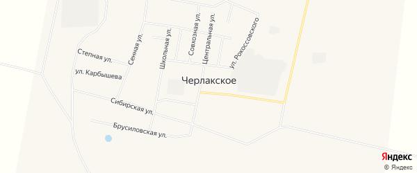Карта Черлакского села в Омской области с улицами и номерами домов
