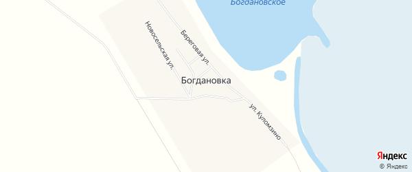 Карта деревни Богдановки в Омской области с улицами и номерами домов