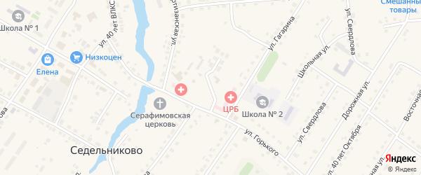 Больничный переулок на карте села Седельниково Омской области с номерами домов