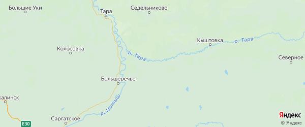 Карта Муромцевского района Омской области с городами и населенными пунктами