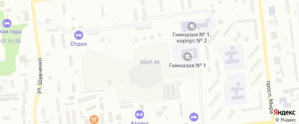 Микрорайон М на карте Ноябрьска с номерами домов