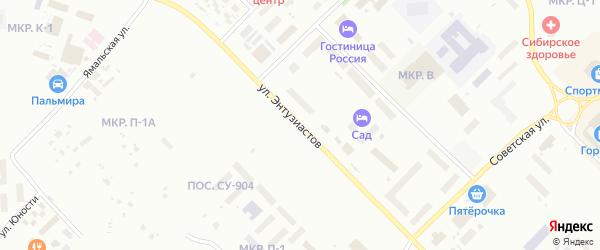 Улица Энтузиастов на карте Ноябрьска с номерами домов