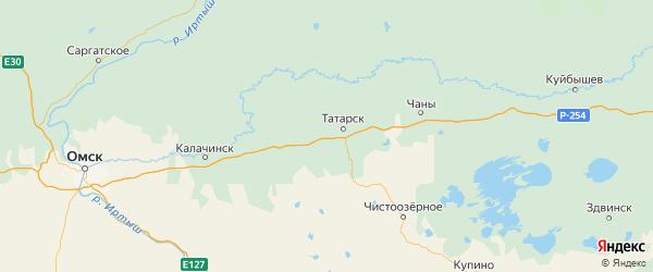Карта Татарского района Новосибирской области с городами и населенными пунктами