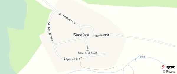 Зеленая улица на карте деревни Бакейки Новосибирской области с номерами домов