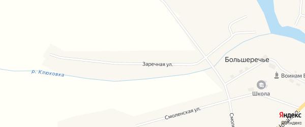 Заречная улица на карте села Большеречья Новосибирской области с номерами домов