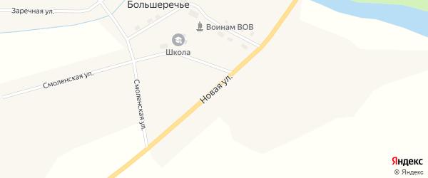 Новая улица на карте села Большеречья Новосибирской области с номерами домов