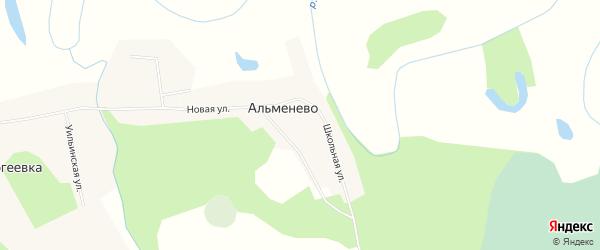 Карта деревни Альменево в Новосибирской области с улицами и номерами домов