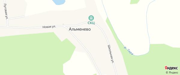 Школьная улица на карте деревни Альменево Новосибирской области с номерами домов