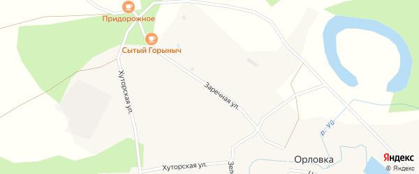 Заречная улица на карте деревни Орловки Новосибирской области с номерами домов