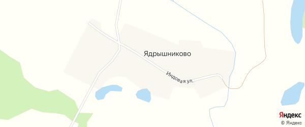 Индовая улица на карте деревни Ядрышниково Новосибирской области с номерами домов