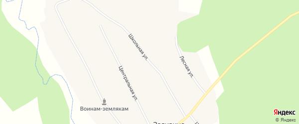 Школьная улица на карте деревни Заливино Новосибирской области с номерами домов