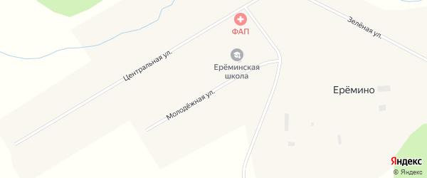 Молодежная улица на карте деревни Еремино Новосибирской области с номерами домов