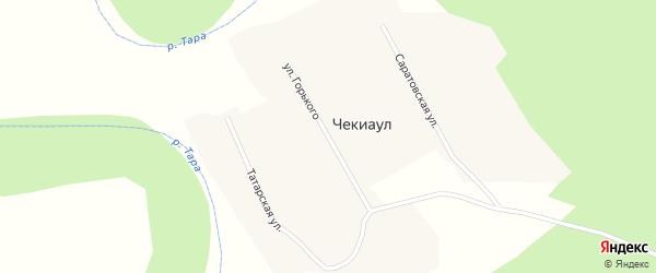 Улица Горького на карте деревни Чекиаул Новосибирской области с номерами домов