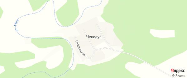 Карта деревни Чекиаул в Новосибирской области с улицами и номерами домов