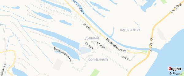 Карта Дивного поселка города Нижневартовска в Ханты-Мансийском автономном округе с улицами и номерами домов