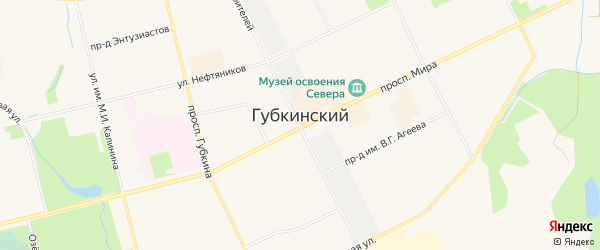 Территория Панель 11 на карте Губкинского с номерами домов