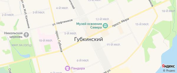 Микрорайон 24 на карте Губкинского с номерами домов