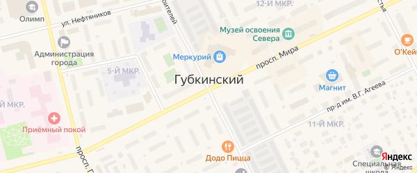 Проезд Энтузиастов на карте Губкинского с номерами домов