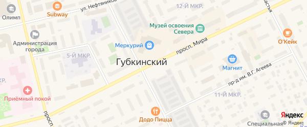 Проспект Мира на карте Губкинского с номерами домов