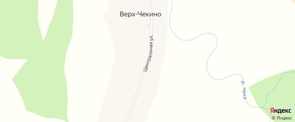 Центральная улица на карте деревни Верх-Чекино Новосибирской области с номерами домов