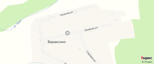 Зеленая улица на карте села Вараксино Новосибирской области с номерами домов