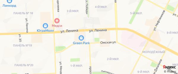 Садовое товарищество Шахтер на карте Нижневартовска с номерами домов
